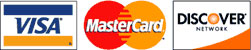 Payment accepted: Mastercard, Visa and Discover